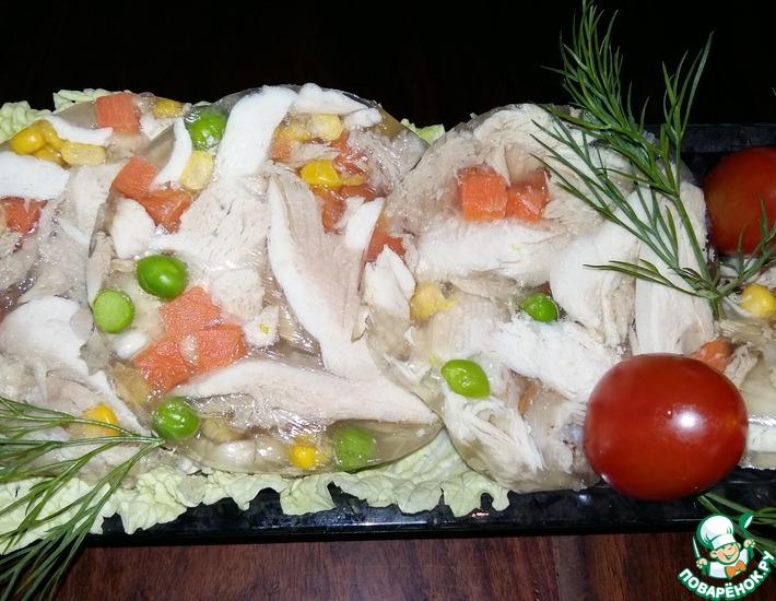 Рецепт: Куриный зельц с овощами в бутылке