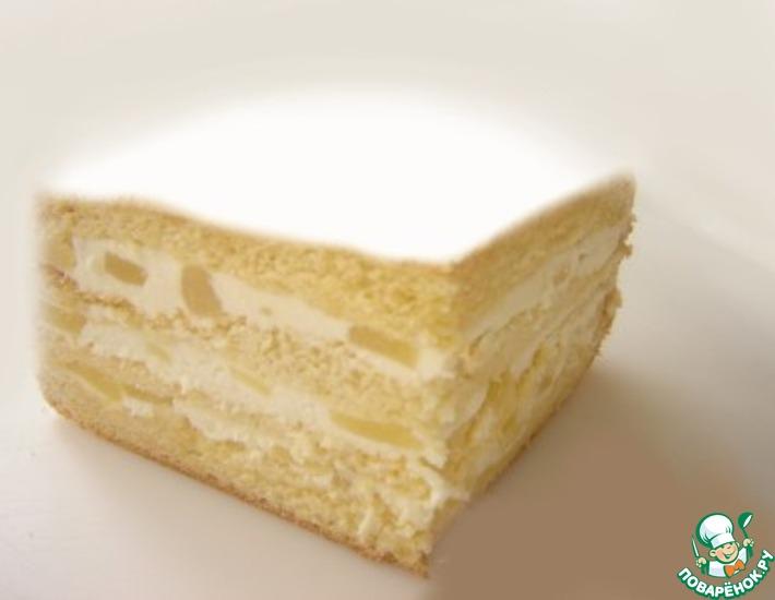 Рецепт: Торт со взбитыми сливками и ананасом
