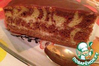Рецепт: Торт Зебра со сметанным кремом