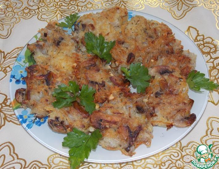 Рецепт: Драники с грибами и орехами