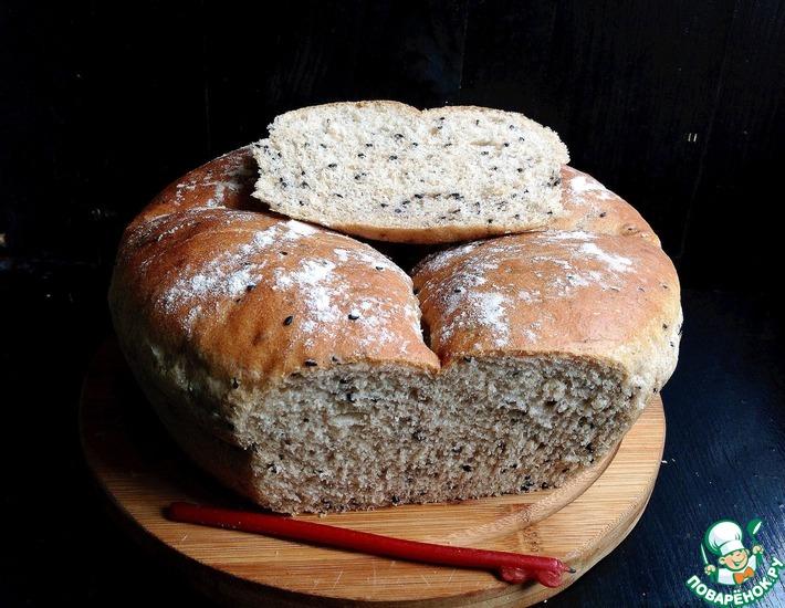 Рецепт: Черемуховый цельнозерновой хлеб с черным кунжутом