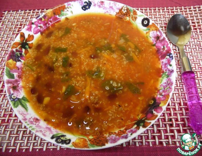 Рецепт: Томатный суп с киноа и фасолью