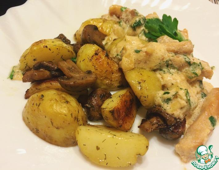 Рецепт: Молодой картофель с грибами в духовке