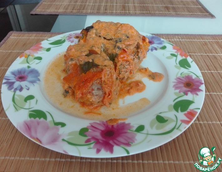 Рецепт: Тушеный фаршированный перец в духовке