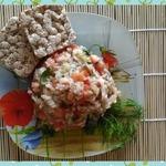 Теплый салат с рисом