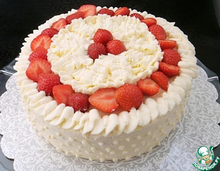 Рецепт: Клубнично-сливочный торт-суфле