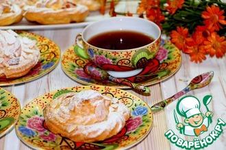 Рецепт: Заварное пирожное с вишнево-творожным кремом