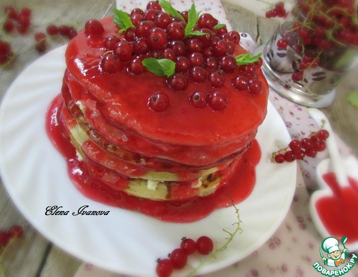 Рецепт: Пшенные панкейки с ягодным соусом