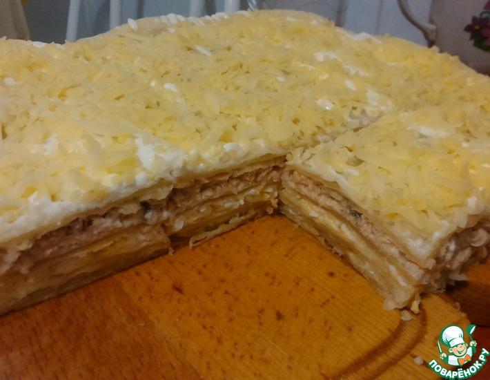 Рецепт: Слоеный пирог с горбушей