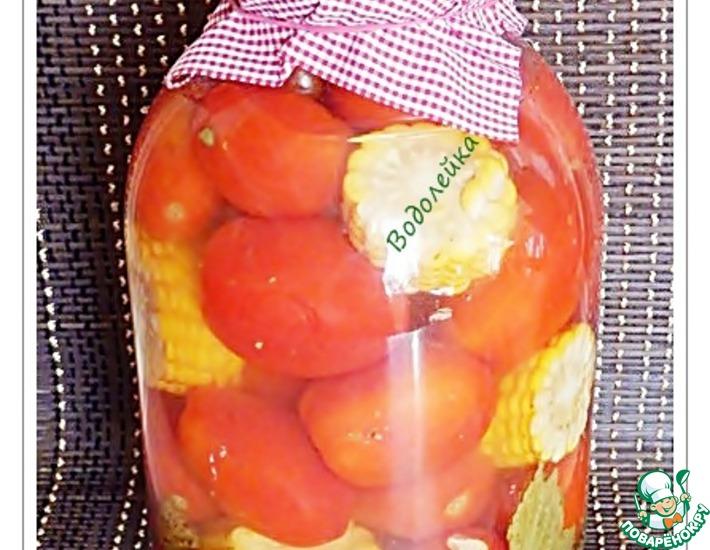 Рецепт: Консервированные помидоры с кукурузой