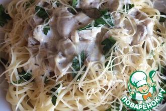 Рецепт: Паста с грибами в сливочном соусе