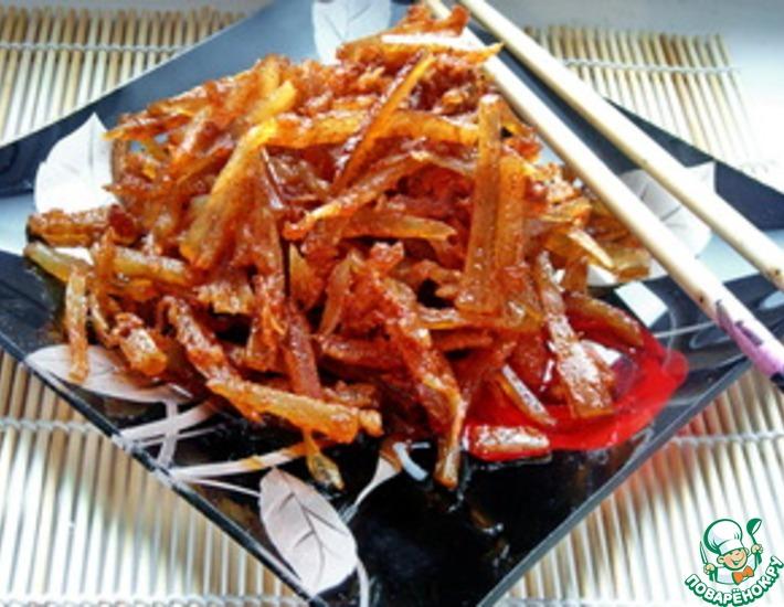 Рецепт: Закуска из сушеного минтая по-корейски