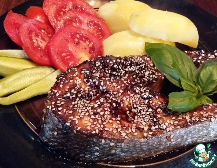 Рецепт: Запеченная форель в укропно-горчичном маринаде
