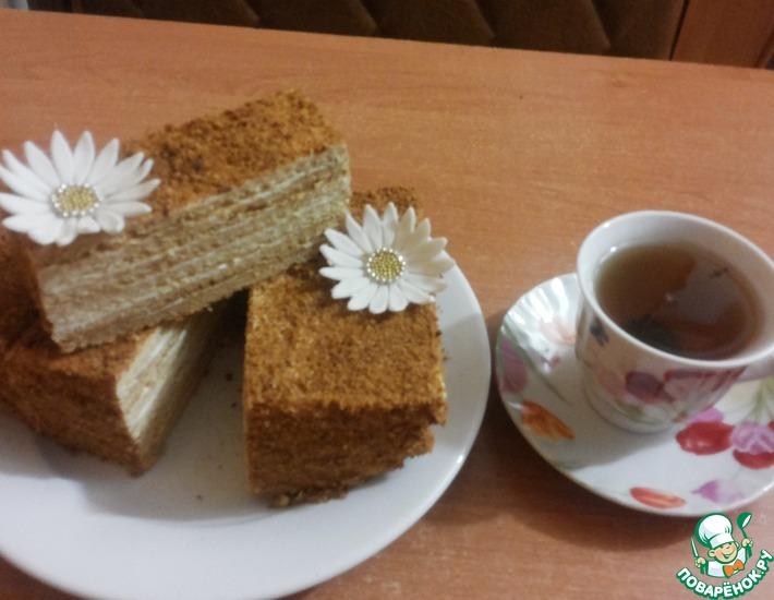 Рецепт: Торт Медовик со сметаной и творогом