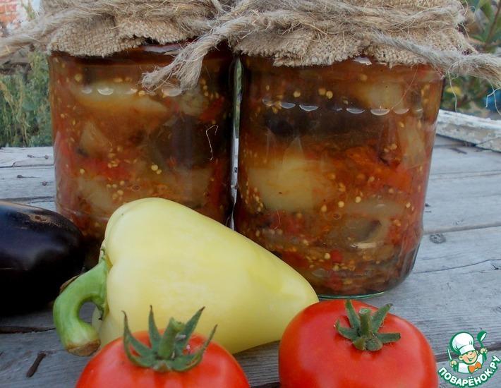 Рецепт: Баклажаны с перцем и помидорами