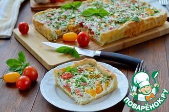 Рецепт: Сметанный пирог с помидорами черри