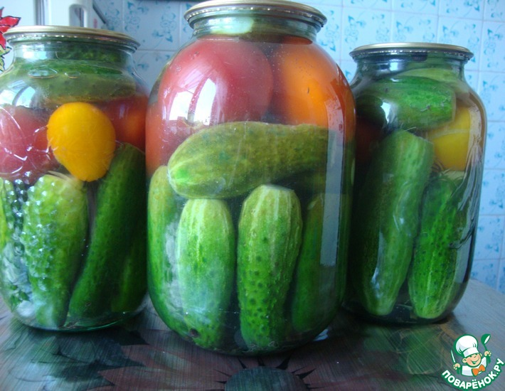 Рецепт: Огуречно-помидорное ассорти
