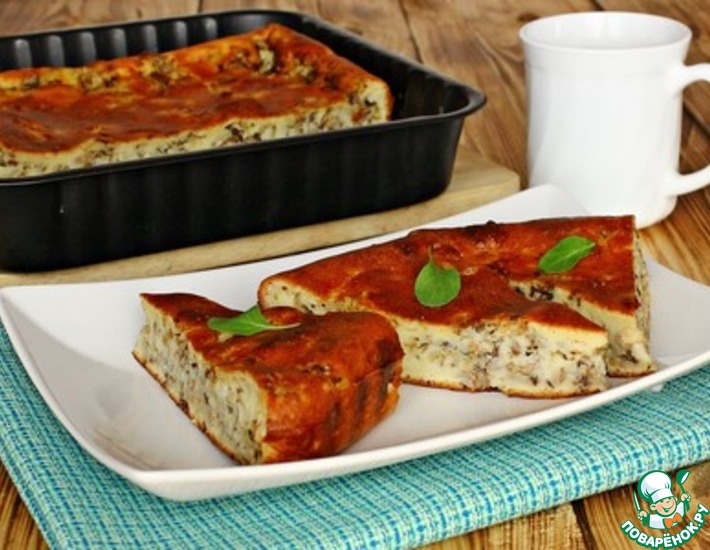 Рецепт: Заливной пирог с рисом и сайрой
