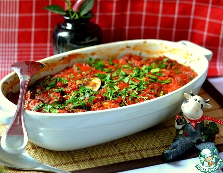 Рецепт: Запеченные баклажаны с помидорами
