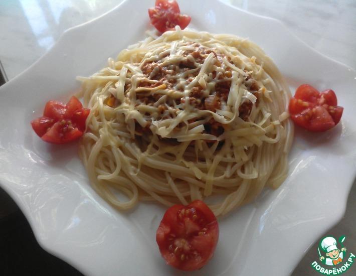 Рецепт: Спагетти с мясным соусом и овощами