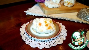 Dessert soft cheese with candied fruit and almonds
