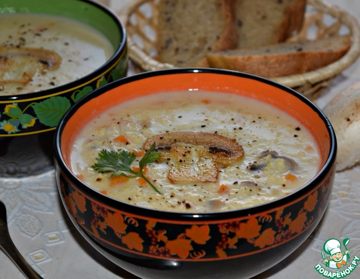 Рецепт: Сливочный пшенный суп с грибами