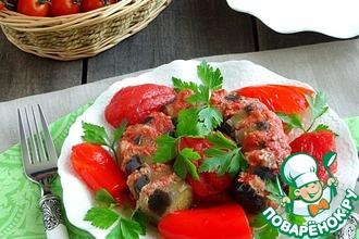 Рецепт: Баклажан с фаршем и овощами