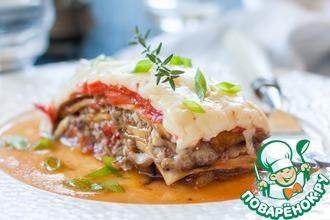 Рецепт: Лазанья из баклажанов с фаршем и грибами