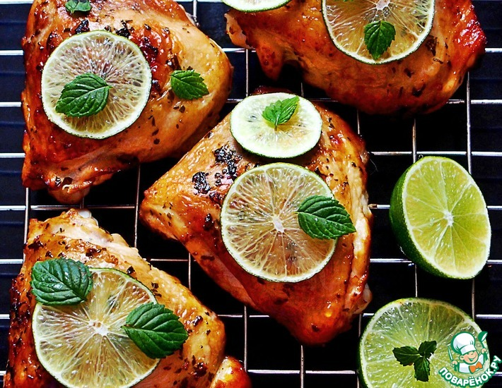 Рецепт: Куриные бедра в маринаде Мохито