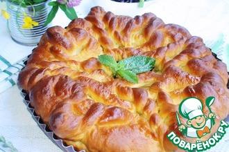 Рецепт: Вязаный пирог с яблоками и щавелем