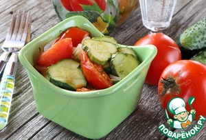 Salad of tomatoes and cucumbers for the winter