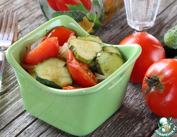 Рецепт: Салат из помидоров и огурцов на зиму