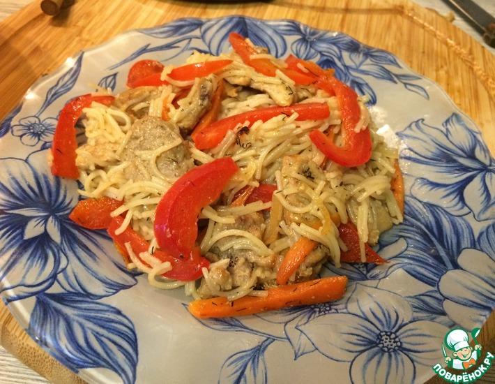 Рецепт: Вермишель с овощами и мясом