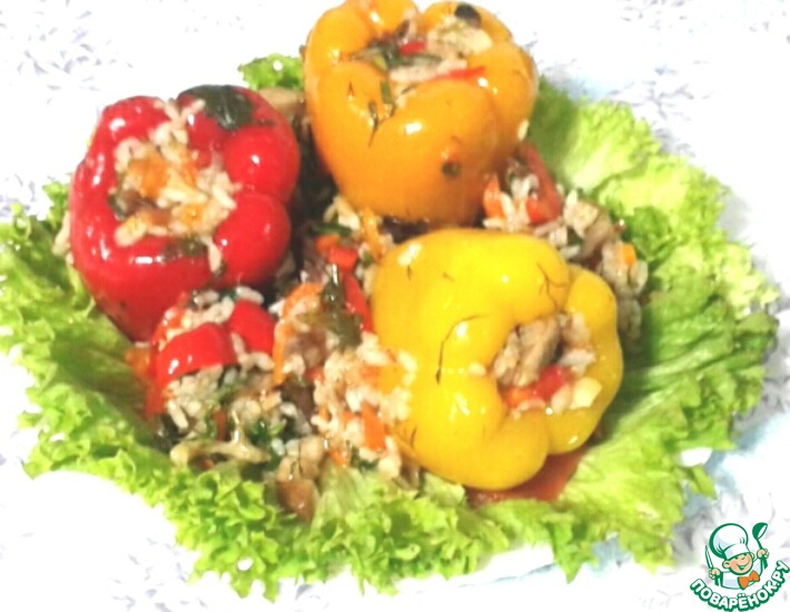 Рецепт: Фаршированный болгарский перец с грибами