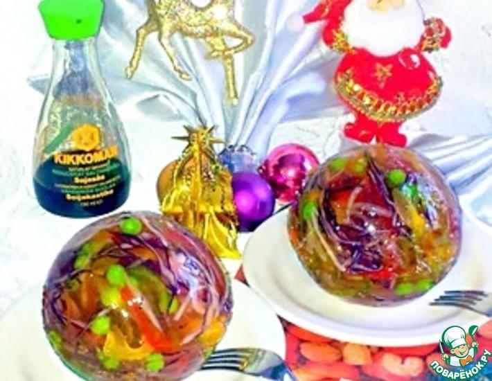 Рецепт: Овощной салат в желе Праздничные шары