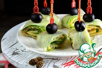 Рецепт: Зеленые рулетики с сыром