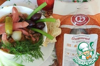 Рецепт: Суп мясной острый Новогодний охотничек