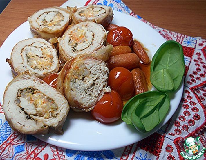 Рецепт: Куриная грудка в беконе, фаршированная рисом