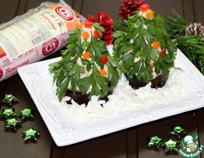 Рецепт: Порционный салат Новогодняя Ёлочка