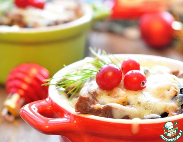 Рецепт: Язык, запеченный с изюмом и орехами