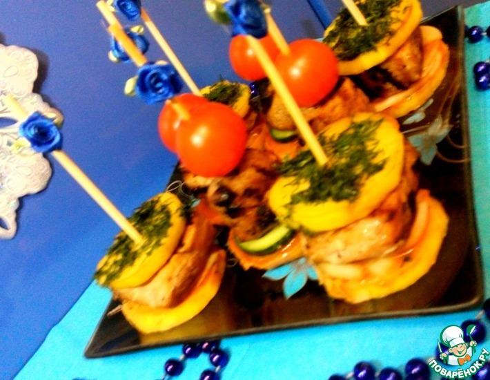 Рецепт: Свинина гриль на шпажках с овощами