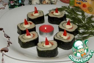 Рецепт: Новогодняя закуска «Неправильные суши»