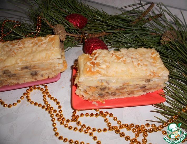 Рецепт: Торт Наполеон с картофелем и грибами