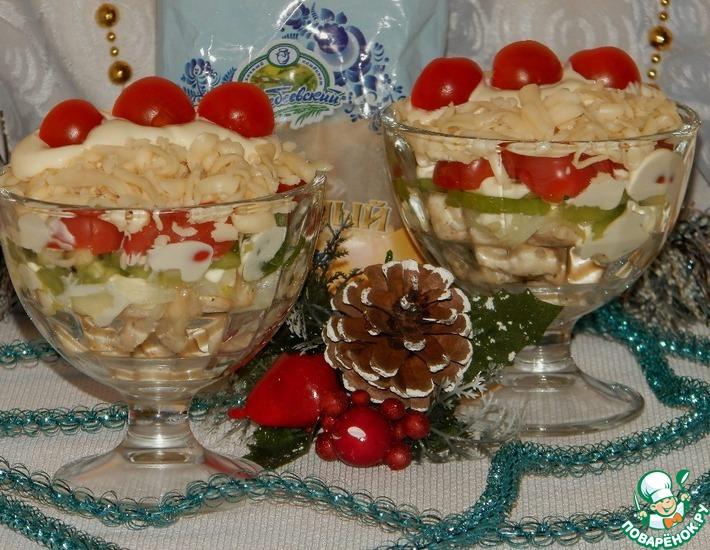 Рецепт: Порционный салат «Петушиные гребешки»