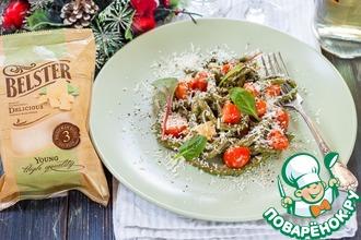 Рецепт: Домашняя паста со шпинатом и томатами