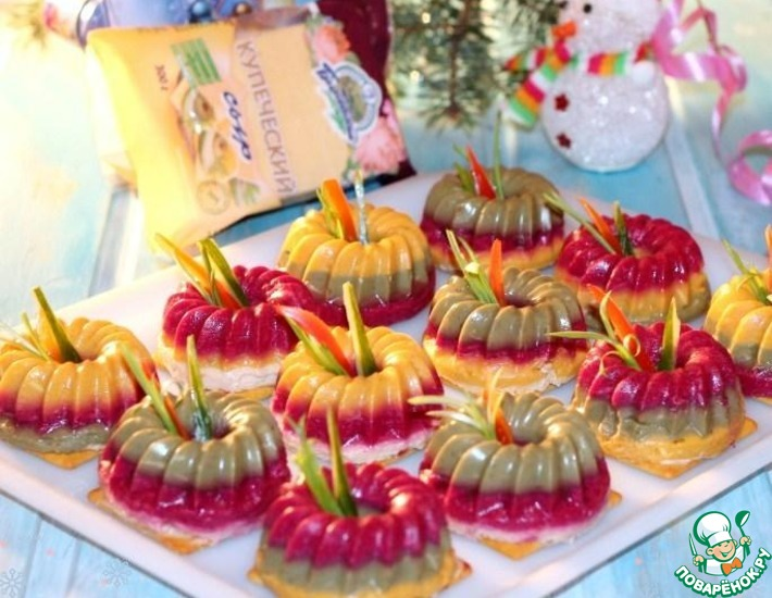 Рецепт: Фуршетная желатиновая закуска Шуба
