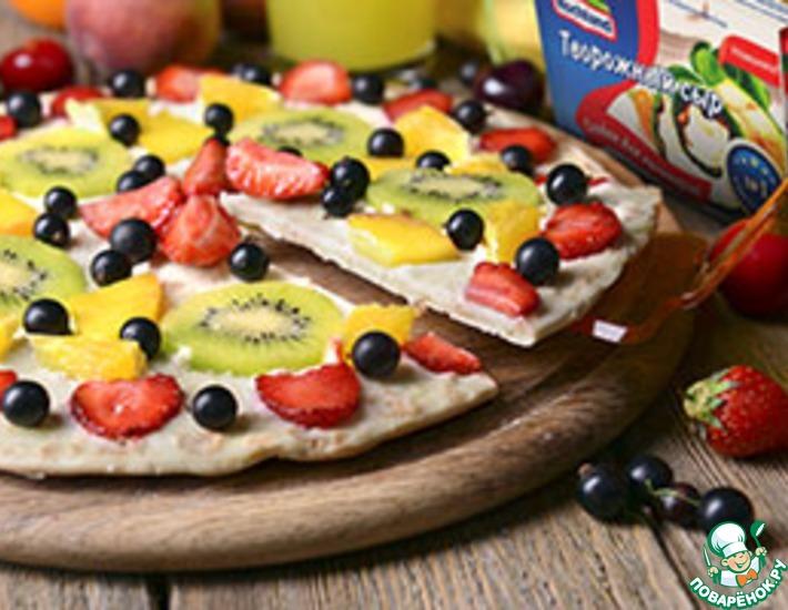 Рецепт: Сладкая пицца с киви и апельсином