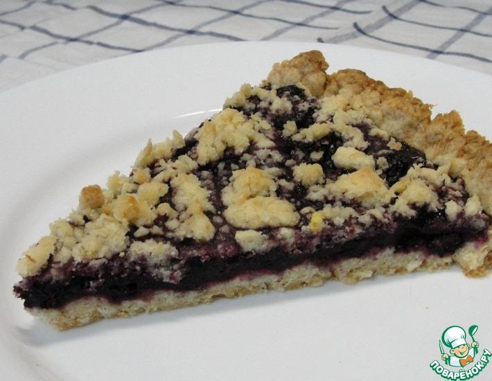 Рецепт: Рассыпчатый постный пирог с ягодами