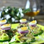 Мясной салат на огурце