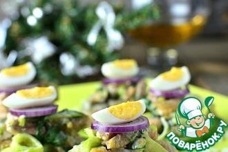 Рецепт: Мясной салат на огурце